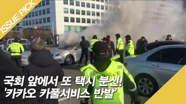 국회 앞에서 또 택시 분신! '카카오 카풀서비스 반발'