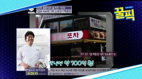 역시 통큰 백종원, ′♥소유진′ 결혼 피로연에만 2억