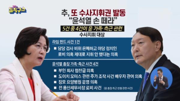 """추미애, 또 수사지휘권 발동…""""윤석열 손 떼라"""""""