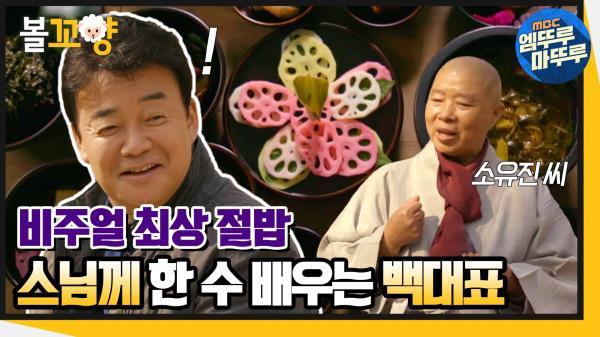 [엠뚜루마뚜루] 비주얼 최상 절밥! 스님께 한 수 배우는 백대표 #엠뚜루마뚜루 (MBC 201217 방송)