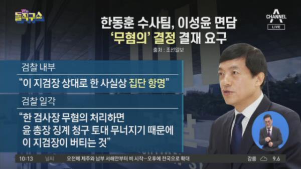 한동훈 수사팀, 이성윤 면담…'무혐의' 결정 결재 요구